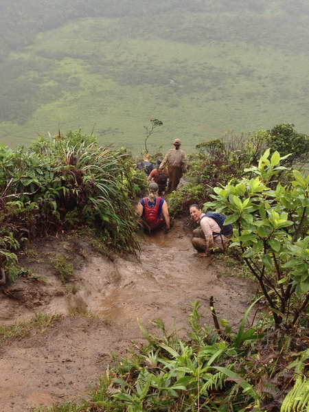 This is the thrill of the hike for most. Wet conditions make for slips and spills, so footing and maintaining balance is key. Pictured are hikers heading down as the Raptor Fields spread out in the background.